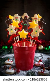 Christmas cake pops in the basket,selective focus