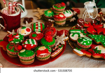 The Christmas cakes stand on the table