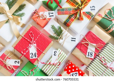 Christmas calendar with gifts for children. Advent calendar.