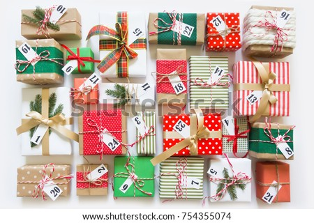 christmas calendar gifts children advent calendar stock photo edit