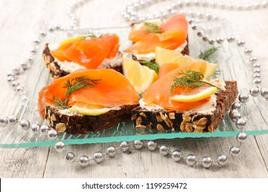 christmas canape with salmon