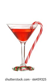 Christmas candies with a red martini