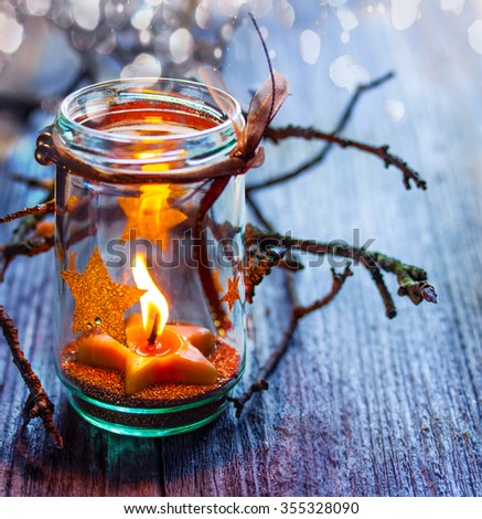 Christmas Candle in a Jar