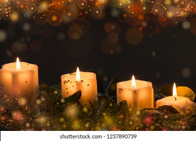 Christmas candle lights with decor lights, for christmas holiday, religion themes