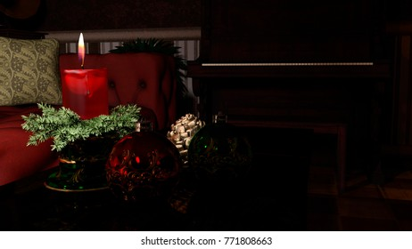Christmas candle and ornaments over indoor dark background - 3d rendering