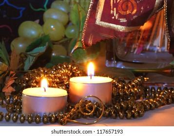 Christmas candles with brown and gold background