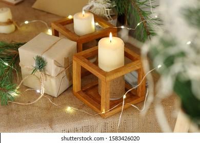 Christmas candles. Christmas candles and lights. Christmas background.