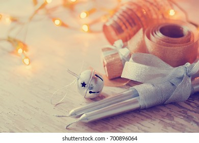 Christmas candles and ornaments - Shutterstock ID 700896064