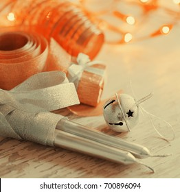 Christmas candles and ornaments - Shutterstock ID 700896094