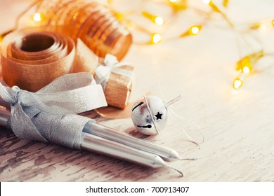 Christmas candles and ornaments - Shutterstock ID 700913407