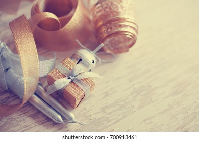 Christmas candles and ornaments - Shutterstock ID 700913461