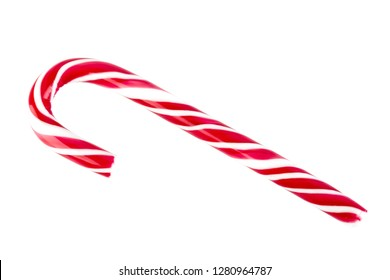 Christmas candy cane isolated on a white. Red and white Christmas caramel.