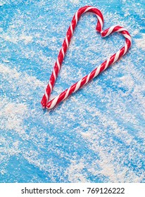 Christmas candy on a blue background