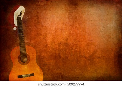Christmas cap with Classic Guitar on grunge background