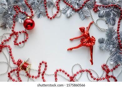 Christmas card for ballerina. ballerina girl figurine and silver garland