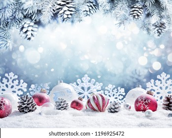 Christmas Card - Baubles On- Snow With Snowy Fir Branches