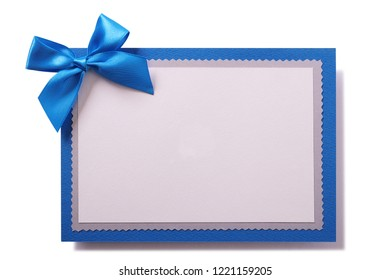 Christmas card blue bow decoration white copy space