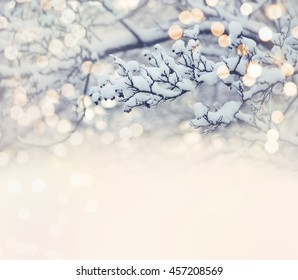Christmas card, branch in snow, blurred light effect, selective focus, vintage style