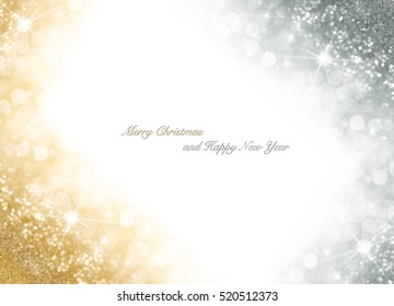 Christmas card with bright gold and silver sparkly over white background with copy space for your seasonal greeting