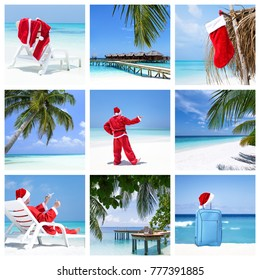 Christmas card collage, winter holidays concept, celebration on tropical destination