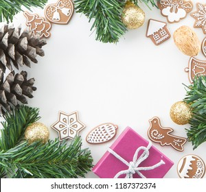 CHRISTMAS CARD COLORFUL COMPOSITION BACKGROUND FRAME , TOP VIEW, TREE BRANCHES, GIFT BOX, CHRISTMAS DECORATION OBJECTS, SQUARE IMAGE
