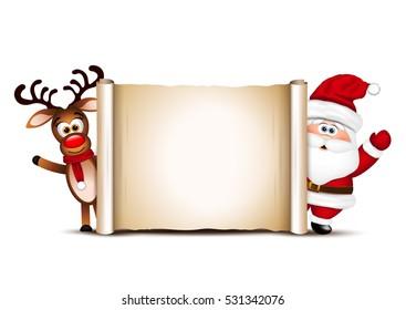 Christmas card design template. Santa Claus and his reindeer.