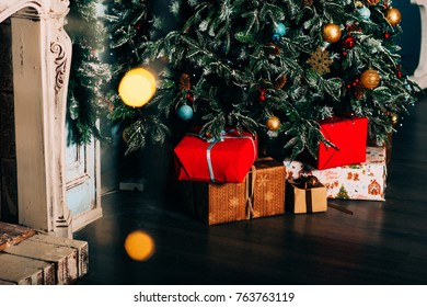 Christmas card: festively decorated tree, christmas tree with holiday white decorations, background with copy space
