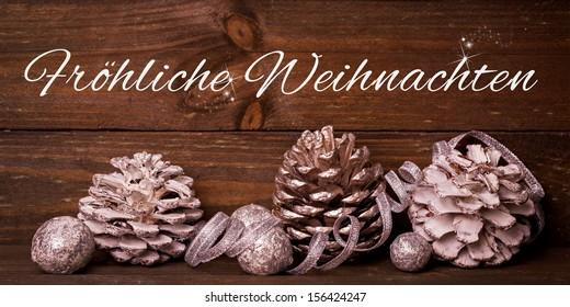 christmas card with german text froehliche Weihnachten