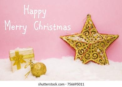 Christmas card with gift box on snow
