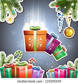 Christmas card with gifts box