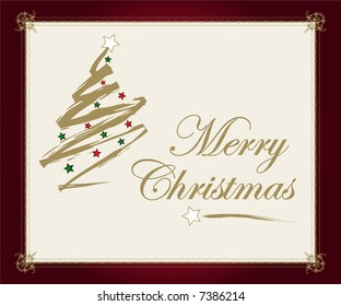Christmas card with golden tree and wishes