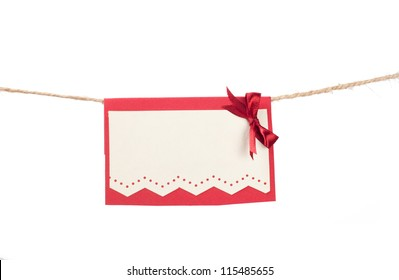 Christmas card hanging on a rope
