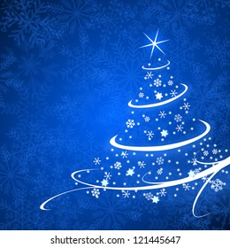 christmas card illustration with christmas tree on blue background