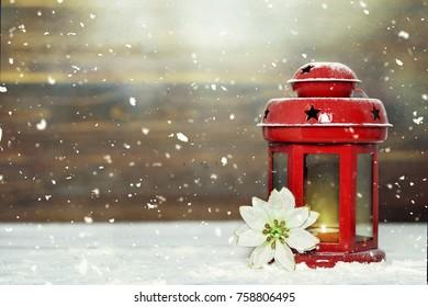 Christmas card with Christmas lantern
