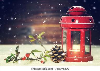 Christmas card with Christmas lantern and Christmas decoration