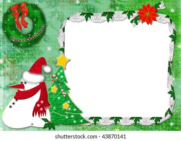 Christmas card on a green background with a snowball