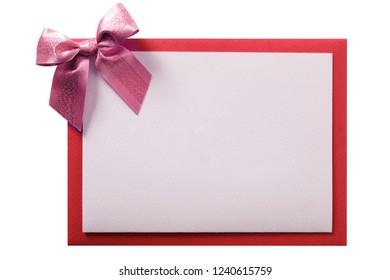 Christmas card pink ribbon bow red envelope border