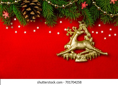 Christmas card red background. Christmas deer. merry Christmas