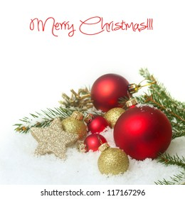 Christmas card with red baubles