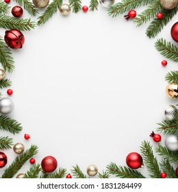 Christmas card with round frame on white background. Blank with copy space for advertising text. Top view, flat lay