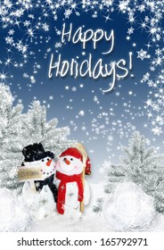 Christmas card with snowmen and Christmas trees