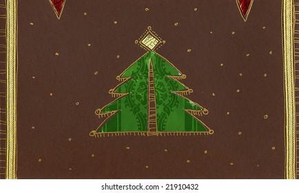 Christmas card with Christmas tree.