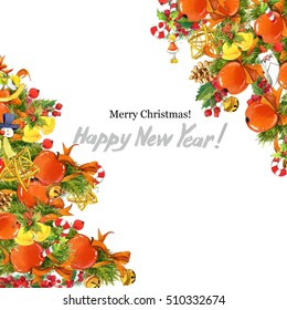Christmas card. Watercolor New Year background.