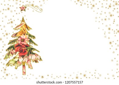 Christmas cards.Christmas tree silhouette with a photo of flowers inside and gold border, white background with space for Cards