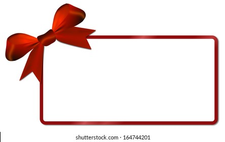 Christmas card,white paper with red bow,copy space