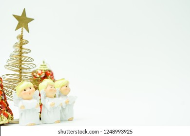 Christmas caroling or Carolers singing.Angel group singing carol song on celebration of christmas day in winter time white background.copy space.