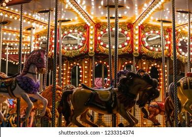 Christmas carousel in the Plaza Mayor in Madrid, Spain.