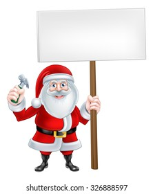 A Christmas cartoon illustration of Santa Claus holding hammer and sign
