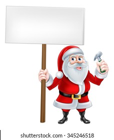 A Christmas cartoon illustration of Santa Claus holding sign and Hammer