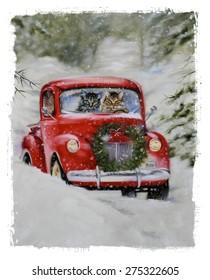 christmas cat lovers driving red car romance feline kittens